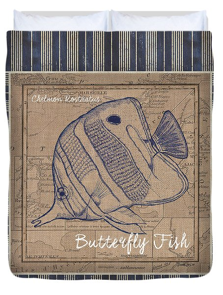 Nautical Stripes Butterfly Fish Duvet Cover