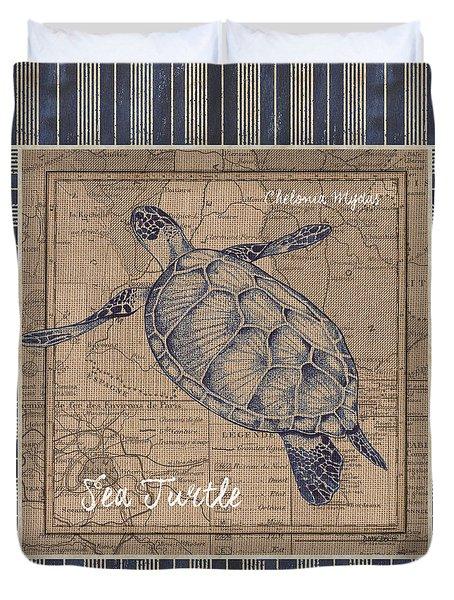 Nautical Stripes Sea Turtle Duvet Cover
