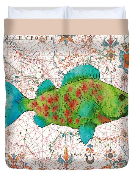 Duvet Cover featuring the painting Nautical Treasures-a by Jean Plout