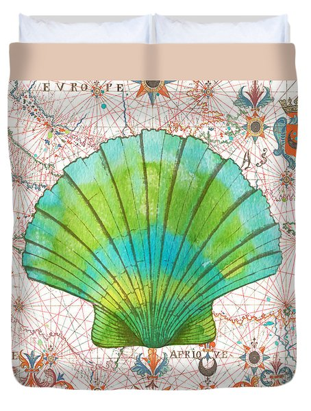 Duvet Cover featuring the painting Nautical Treasures-b by Jean Plout
