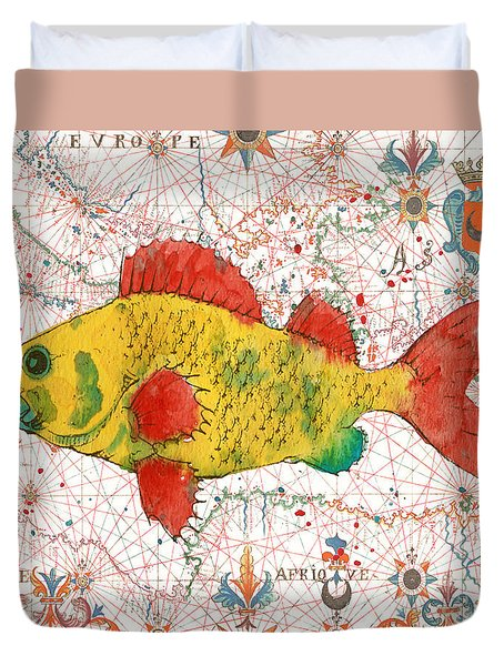 Duvet Cover featuring the painting Nautical Treasures-c by Jean Plout