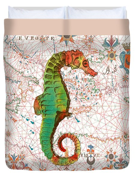 Duvet Cover featuring the painting Nautical Treasures-h by Jean Plout