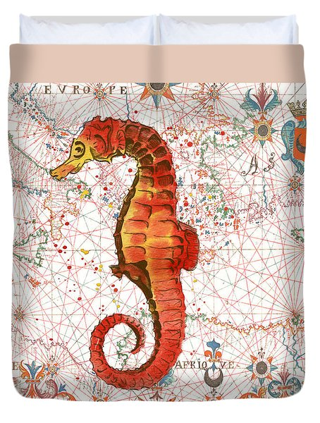 Duvet Cover featuring the painting Nautical Treasures-i by Jean Plout