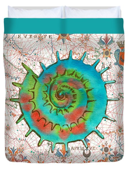Duvet Cover featuring the painting Nautical Treasures-m by Jean Plout