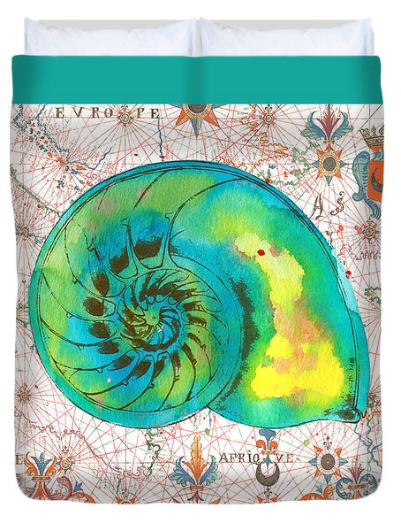 Duvet Cover featuring the painting Nautical Treasures-n by Jean Plout
