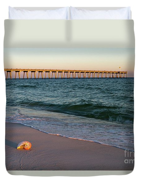 Duvet Cover featuring the photograph Nautilus And Pier by Steven Frame