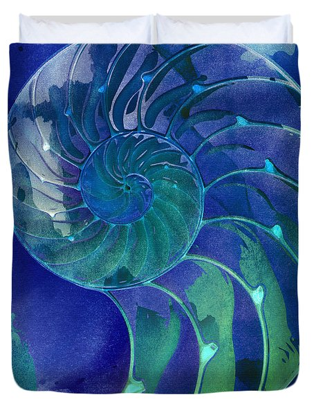 Nautilus Shell Blue Green Duvet Cover