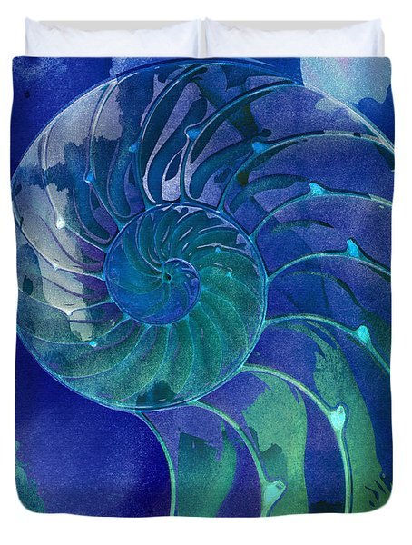 Duvet Cover featuring the digital art Nautilus Shell Blue Green by Clare Bambers