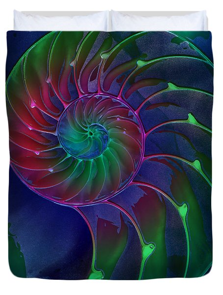 Nautilus Shell Blue Green Pink Duvet Cover