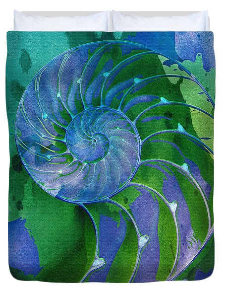 Duvet Cover featuring the digital art Nautilus Shell by Clare Bambers