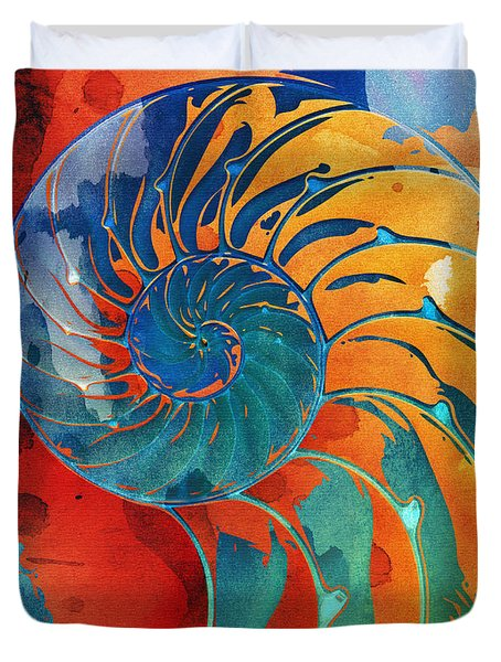Nautilus Shell Orange Blue Green Duvet Cover
