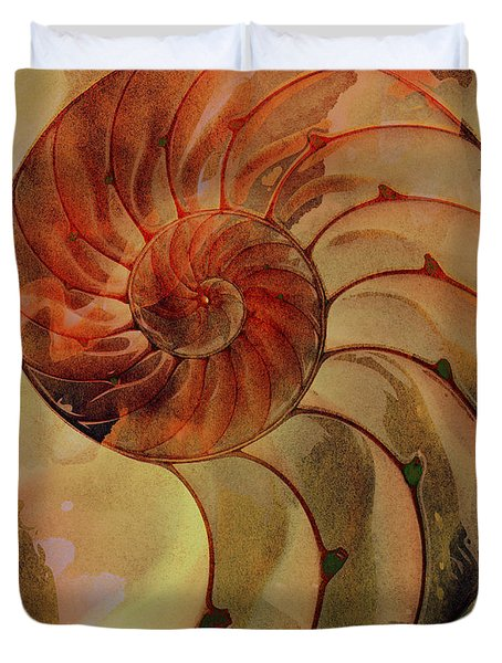 Nautilus Shell Orange Brown Duvet Cover by Clare Bambers