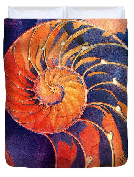 Duvet Cover featuring the digital art Nautilus Shell Orange Purple by Clare Bambers