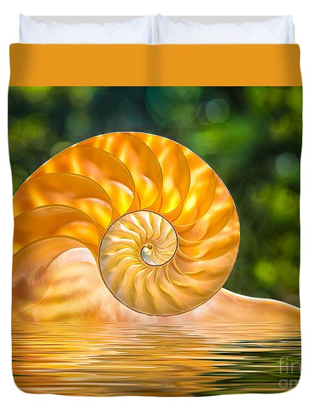 Nautilus Shell Submerged In Water Duvet Cover