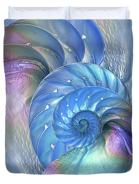 Nautilus Shells Blue And Purple Duvet Cover