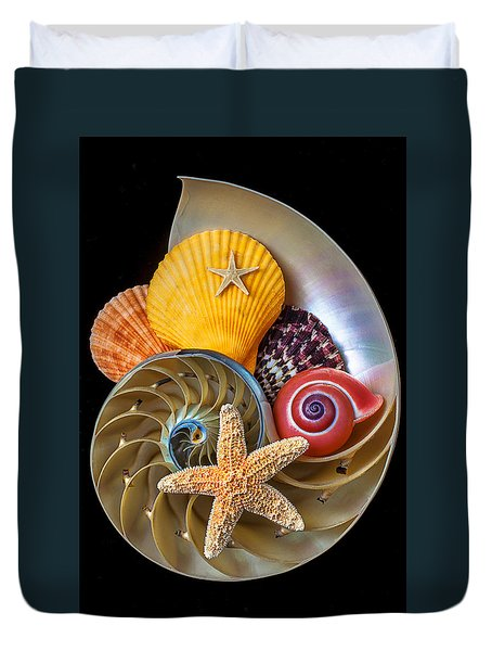 Nautilus With Sea Shells Duvet Cover by Garry Gay