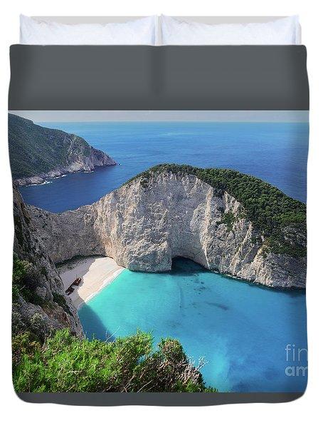 Navagio Beach Duvet Cover