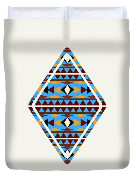 Navajo Blue Pattern Art Duvet Cover