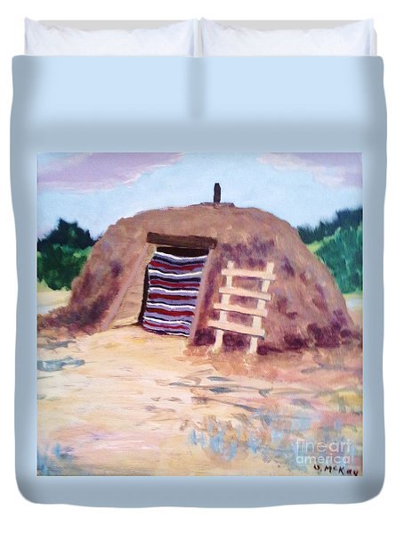 Duvet Cover featuring the painting Navajo Hogan by Suzanne McKay