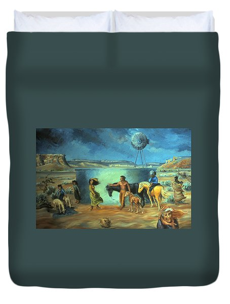 Navajo Love As Long As The Wind Shall Blow Duvet Cover by Dawn Senior-Trask
