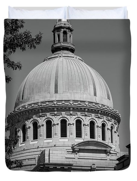 Naval Academy Chapel - Black And White Duvet Cover