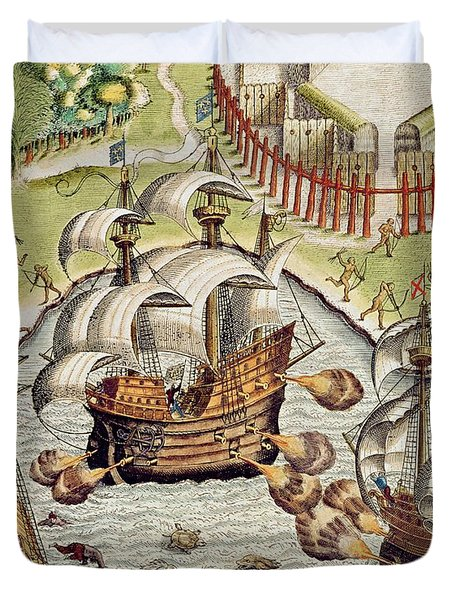 Naval Battle Between The Portuguese And French In The Seas Off The Potiguaran Territories Duvet Cover by Theodore de Bry