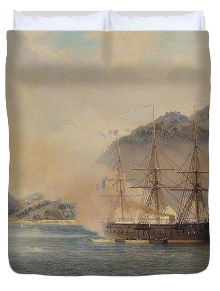 Naval Battle Of The Strait Of Shimonoseki Duvet Cover by Jean Baptiste Henri Durand Brager
