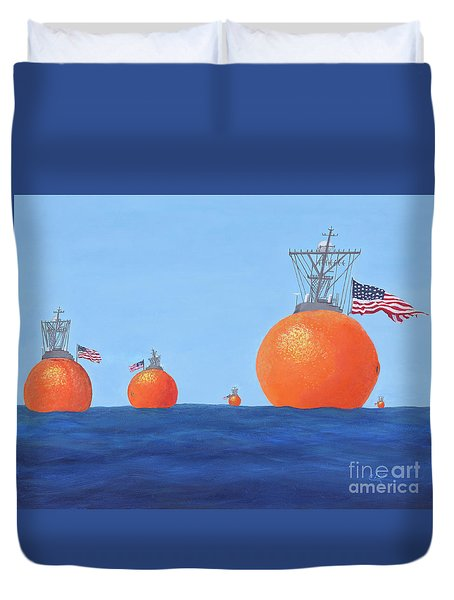 Naval Oranges Duvet Cover