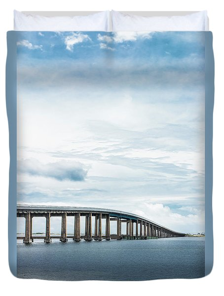 Duvet Cover featuring the photograph Navarre Bridge In Florida On The Sound Side by Shelby Young