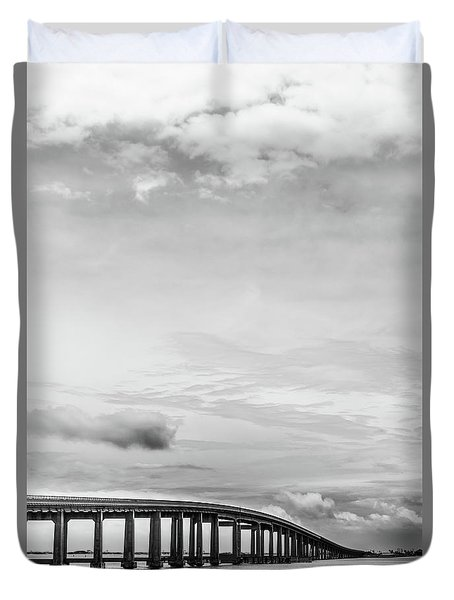 Duvet Cover featuring the photograph Navarre Bridge Monochrome by Shelby Young