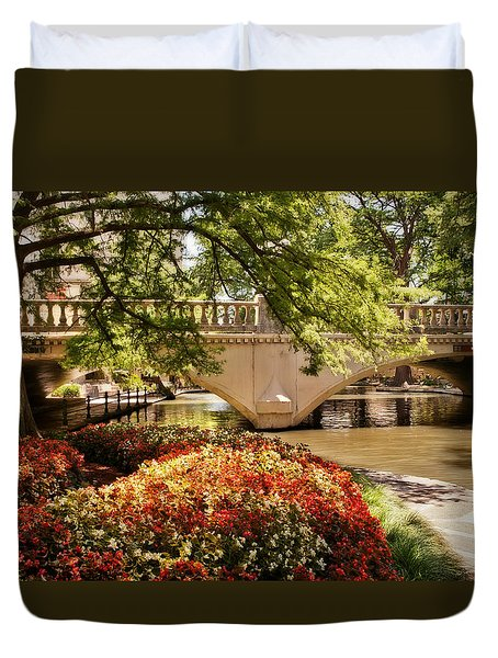 Duvet Cover featuring the photograph Navarro Street Bridge by Steven Sparks