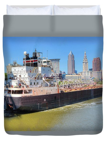 Duvet Cover featuring the photograph Navigating The Cuyahoga by Brent Durken