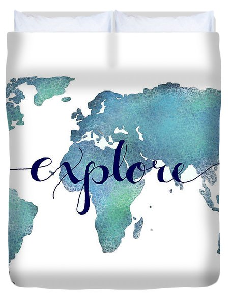 Navy And Teal Explore World Map Duvet Cover