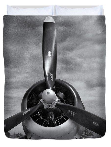 Navy Corsair Propeller Duvet Cover by Roger Wedegis