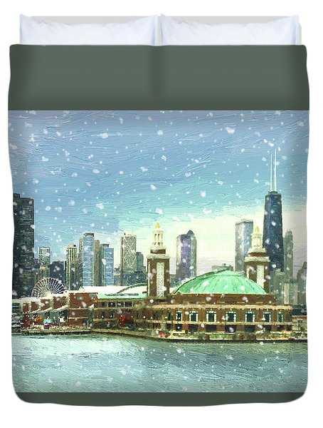 Navy Pier Winter Snow Duvet Cover