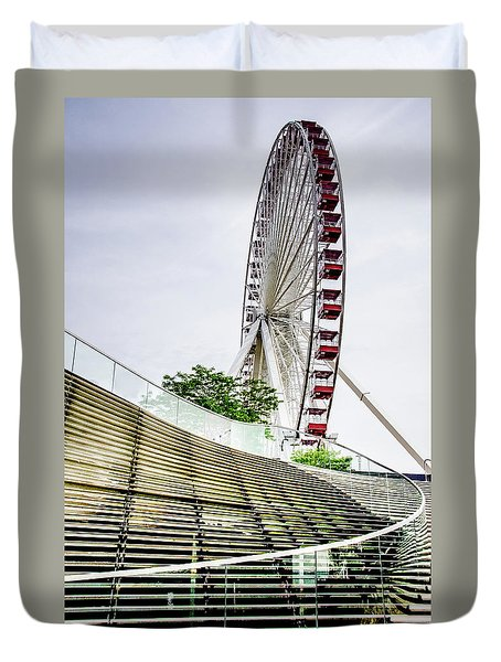 Duvet Cover featuring the photograph Navy Pier's Old Ferris Wheel by Julie Palencia