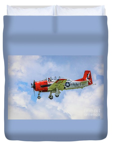 Duvet Cover featuring the photograph Navy Trainer #2 by Tom Claud