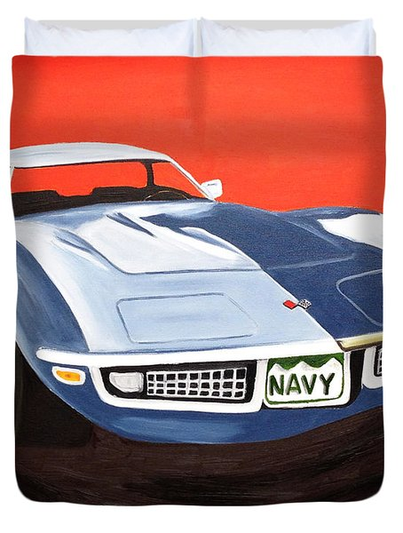 Navy Vette Duvet Cover