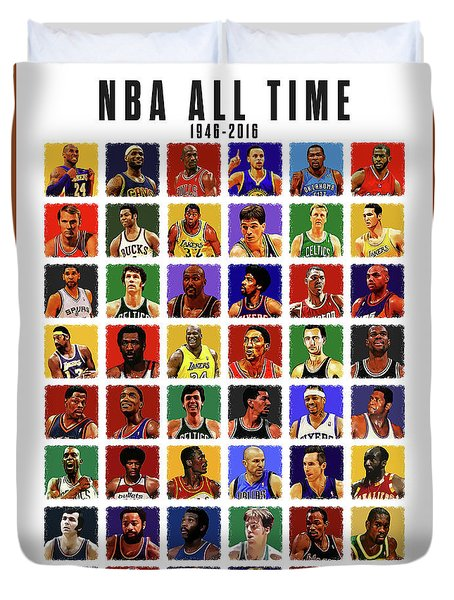 Nba All Times Duvet Cover by Semih Yurdabak