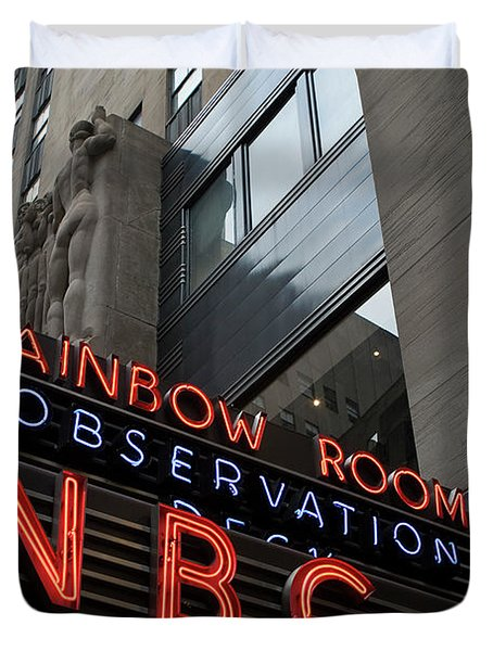 Nbc Studio Rainbow Room Sign Duvet Cover