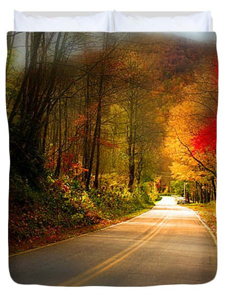 Nc Mountain Fall Drive Duvet Cover by Gray  Artus