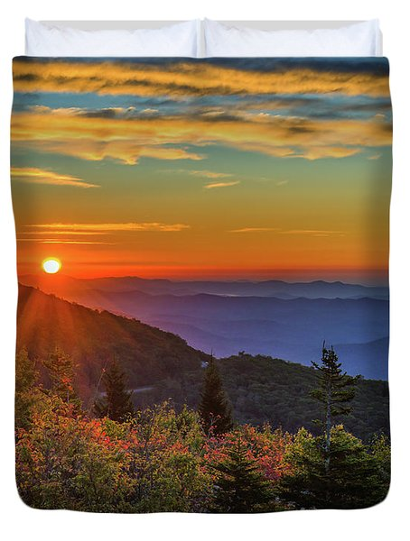 Nc Mountain Sunrise Blue Ridge Mountains Duvet Cover