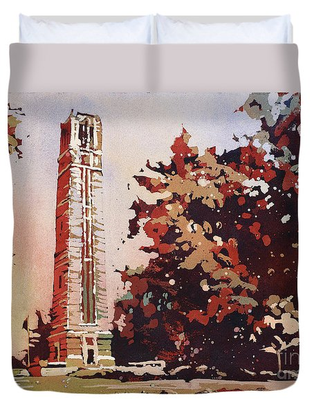 Duvet Cover featuring the painting Ncsu Bell-tower II by Ryan Fox