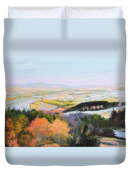 Duvet Cover featuring the painting Near Clawddnewydd In North Wales. by Harry Robertson