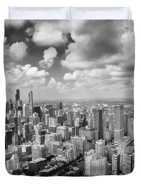 Near North Side And Gold Coast Black And White Duvet Cover by Adam Romanowicz