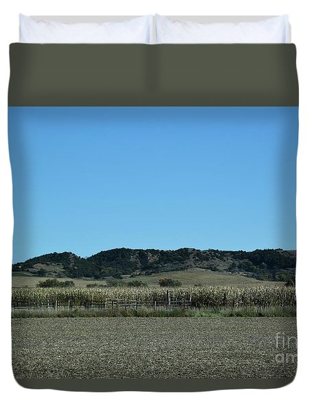 Duvet Cover featuring the photograph Nebraska Corn Field by Mark McReynolds