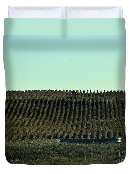 Duvet Cover featuring the photograph Nebraska Corn Rows by Mark McReynolds