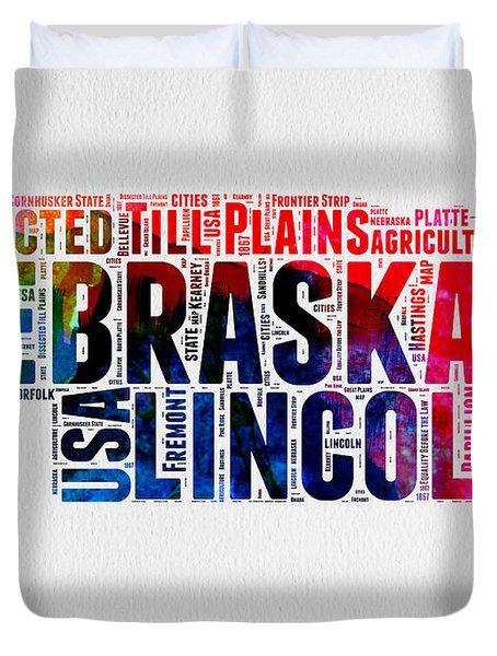 Nebraska Watercolor Word Cloud  Duvet Cover