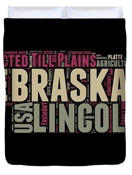 Nebraska Word Cloud 1 Duvet Cover