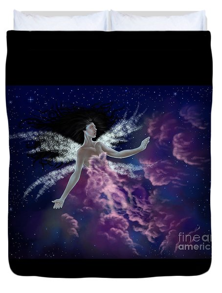 Duvet Cover featuring the painting Nebula by Amyla Silverflame